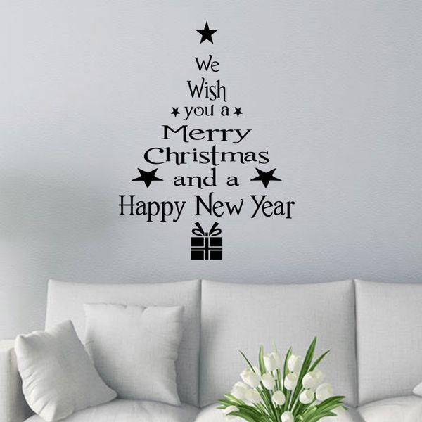 Frohe Weihnachten Dekor Weihnachtsbaum Letters-Wand-Aufkleber-Kunst-Abziehbild-Wandglas-Fenster-Wand-Aufkleber-Weihnachtshaus-Raum-Dekoration