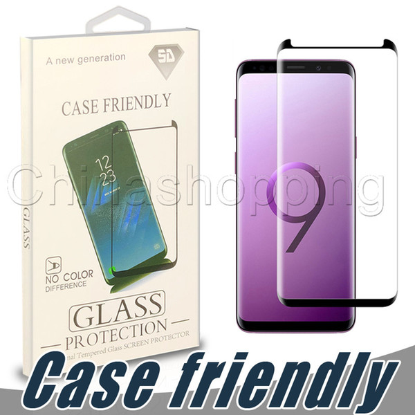 Case Friendly 3D Curved Screen Protector Flim Cubierta de vidrio templado de superficie completa para Samsung S9 S8 Plus S7 Edge con paquete al por menor