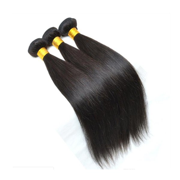 Straight Human Hair Bundle Weaves 3/4pcs Unprocessed Brazilian Virgin Hair Bundles Double Weft Extensions Natural Color Dyeable 8-30 inch