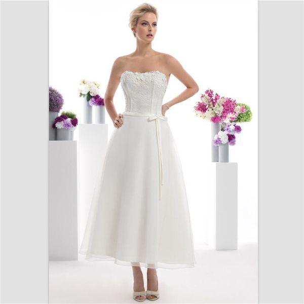 Custom Beach Short Wedding Dresses 2018 Robe De Mariage Simple Sexy Strapless Tea Length Bridal Dresses Elegant White Satin Wedding Gowns