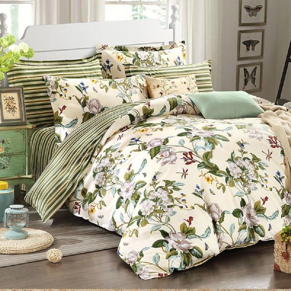 WINLIFE Floral Bedding American Country Style Duvet Cover Set Shabby  Vintage Bedroom Set Girls Bed Cover 100% Coon Bed Duvet Insert Linen Duvet  Cover ...