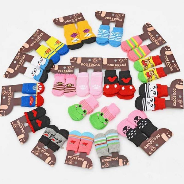 Hot pet dog cat warm socks for winter Cute Puppy Dogs Soft Cotton Anti-slip Knit Weave Sock Dog cat Socks Clothes 4pcs/lot
