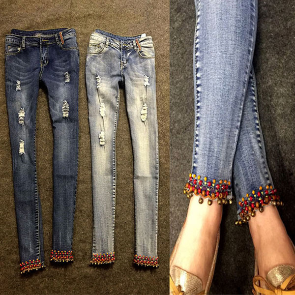 2018 autumn National style embroidered bell Stretch Denim pencil Jeans Women ankle length Skinny Jeans Women plus size 26-32