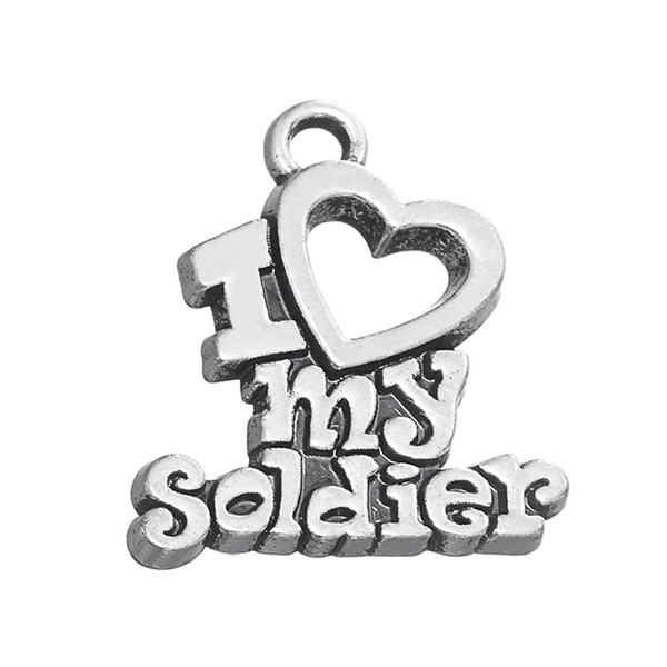 30PCS Fashion Latest Style DIY Jewelry Lettering I Heart My Soldier Metal Pendant Jewelry Charms Dangle Accessories