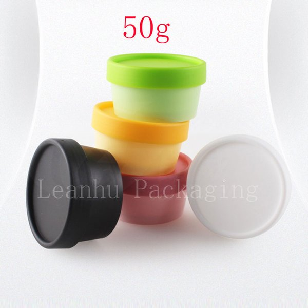 50g colored empty round cosmetics container ,50ml plastic cream jars with screw lids, mask pot for cosmetic packaging DIY cream