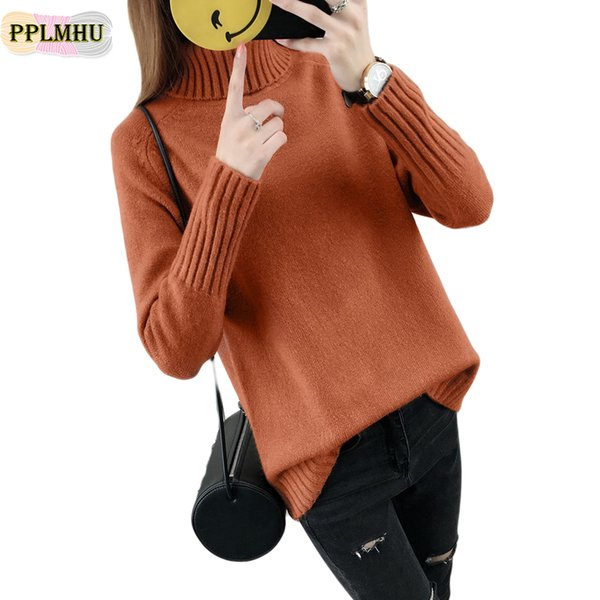 Snow wear knitting sweater women Winter Warm Turtleneck Sweater female 2018 new casual thick pullover oversized tops