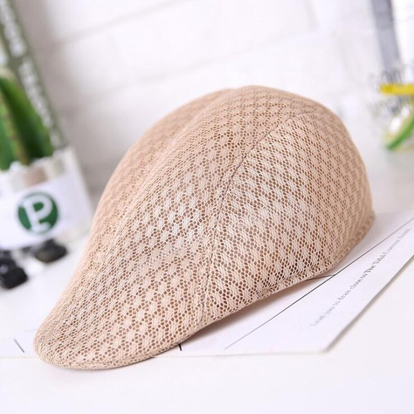 wholesale New Summer Men Women Casual Beret Hat Ivy Flat Cap Cabbie Newsboy Style Gatsby Hat Breathable Boina Mesh Caps
