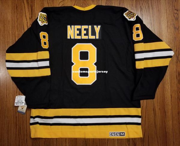 Günstige benutzerdefinierte NEELY # 8 Vintage CCM Boston Bruins Jersey schwarz NEUE Mens personalisierte Nähtrikots