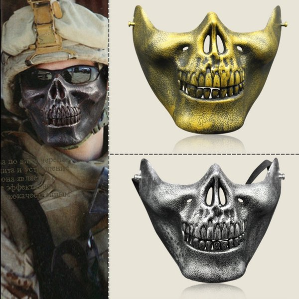 Skull mask Jaw Horror Half Face Shied Terror Masks Plastic Human Skull Skeleton Mask for Halloween Outdoor Party