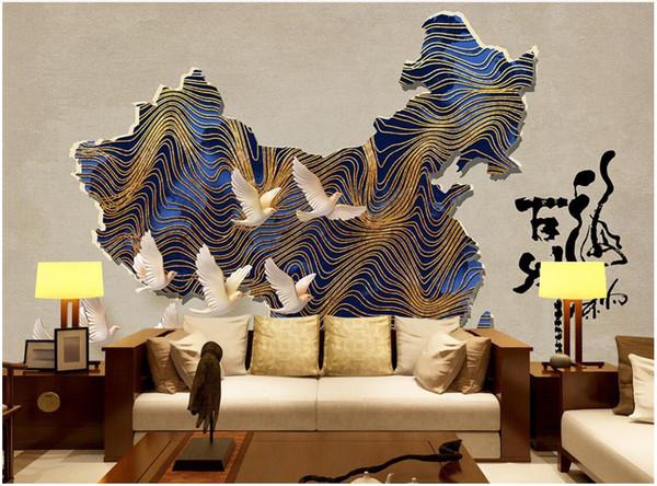 3d обои пользовательские фото росписи новый китайский старинные Китай карта бар кафе магазин инструментов фрески обои 3D пейзаж стены гобелен 3d