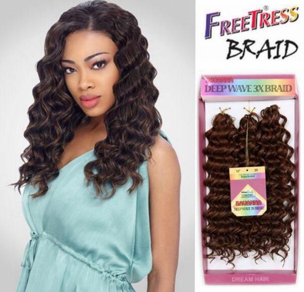3pcs/lot gray black gold braiding deep wave weave syntheitic hair bundles freetress deep twist braid crochet braids synthetic braiding hair