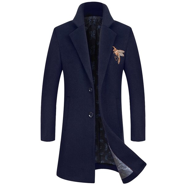 Mens Winter Wool Coats And Jackets Long Sport Button Slim Fit Embroidery Coats Cotton Clearance Mens Parka Big Size