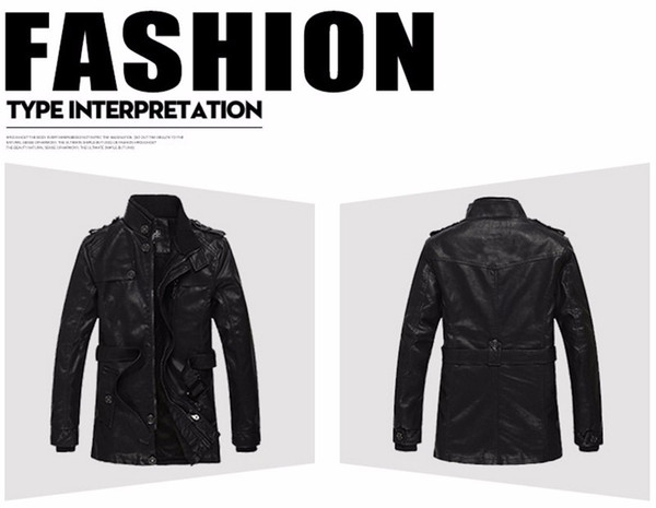 Nice Winter New PU Leather Jacket Men Brand Clothing Motorcycle Jacket Mens Leather Jackets Coats Warm Male Parka 2XL