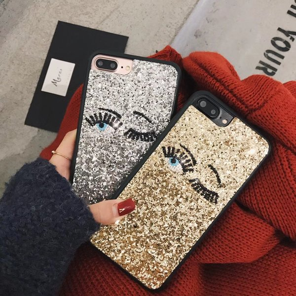 Bling 3D Big Eyes Phone Case Cover Glitter Paillette Flash Powder Eyelashes Pattern Back Cover Shell for iPhone X 4.7 5.5