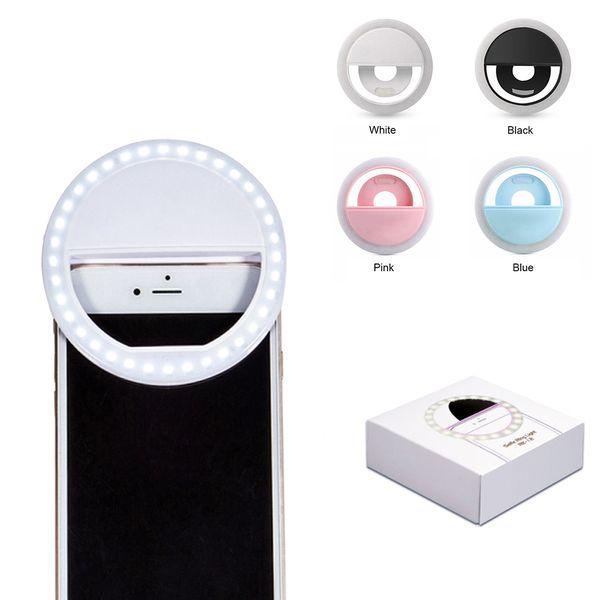 Ricaricabile universale di lusso Smart Phone LED Flash Light Up Selfie anello del telefono luminoso per iPhone per Android con ricarica USB