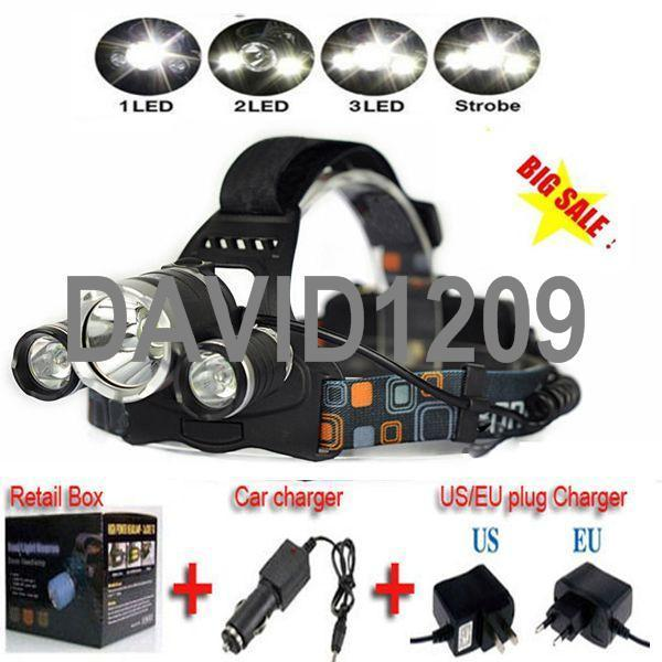 2015 nouveau 100% authentique garantie CREE XM-L XML T6 LED R5 rechargeable phare phare lampe frontale + chargeur CA + chargeur de voiture