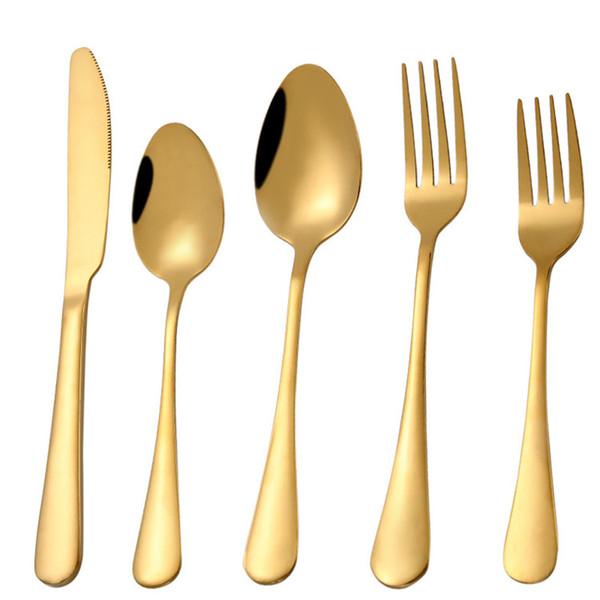 Utensílios de mesa de ouro brilhante talheres de ouro talheres de ouro talheres colher garfo louça de aço inoxidável suprimentos de casamento por atacado