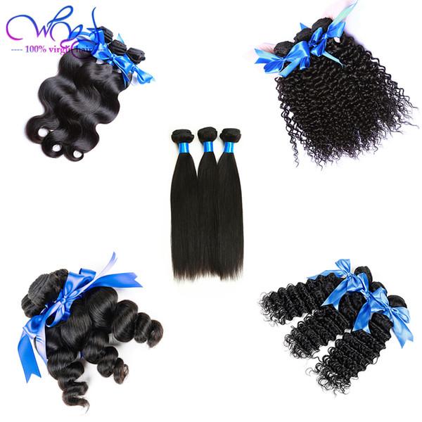 Mongolian Straight Virgin Human Hair Weave Extensions 3 Bundles Peruvian Malaysian Indian Brazilian Loose Wave Curly Hair Natural Black