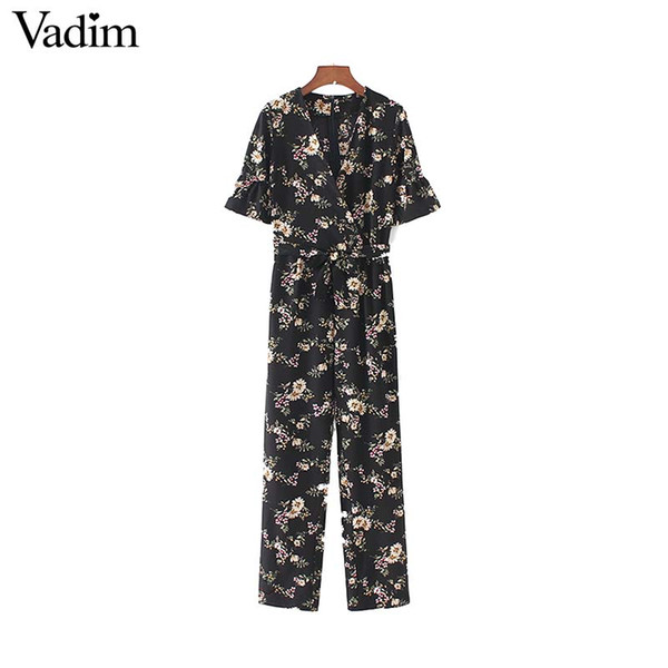 wholesale vintage floral V neck jumpsuits bow tie sashes short sleeve pockets rompers playsuits female fashion casual pants KZ1176