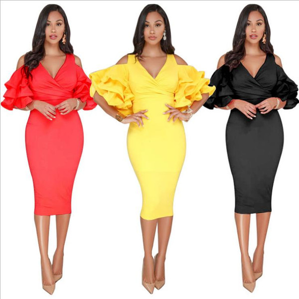 2018 Sexy Elegant Evening Dresses Tea Length Black Red Yellow Ruffles Sleeve V Neck Formal Women Evening Gowns Cheap Party Dresses In Stock