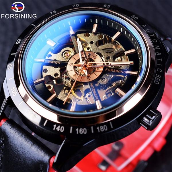 Forsining Motorcycle Design Transparent Genuine Red Black Belt Waterproof Skeleton Men Automatic Watches Top Brand Luxury Male Clock