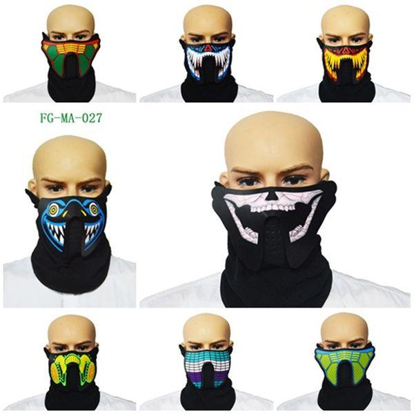 Halloween LED Masken Kleidung Big Terror Masken Kaltlicht Helm Feuer Festival Party Cosplay Maske Outdoor-Maske Für Fahrer