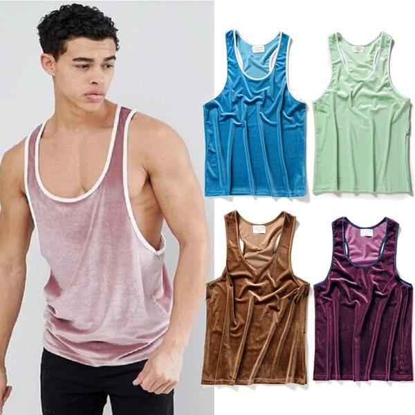 Yeni Varış Kadife Yelek T-shirt Erkekler Hip Hop Streetwear Üst Kolsuz Boy Kaykaylar Tankı Üstleri Yaz Gym Spor Jogger Tees MKG1106
