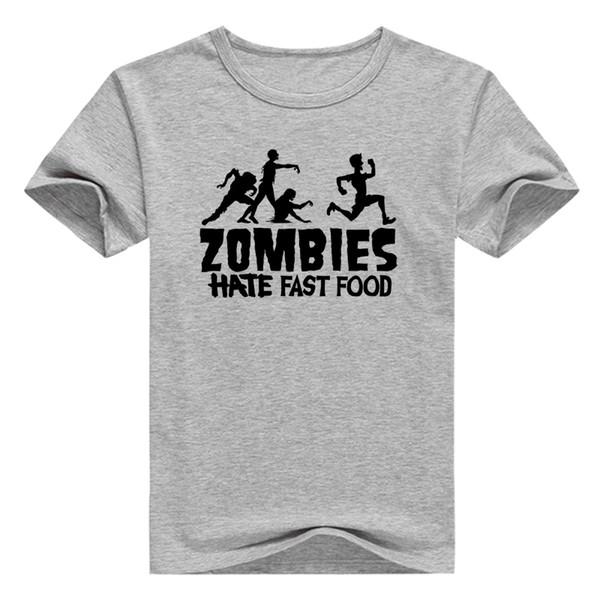 Zombies Hate Fast Food Print Top Mens Boys Short Sleeve TShirt Cotton Tee Casual