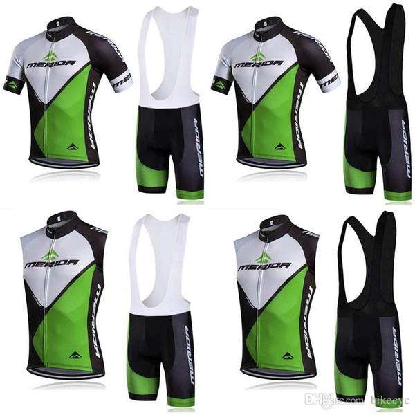 MERIDA team Cycling Short Sleeves jersey (bib) shorts Sleeveless Vest sets Mens Bicycle Summer Breathable Dry Men's Cycling Sport F0702