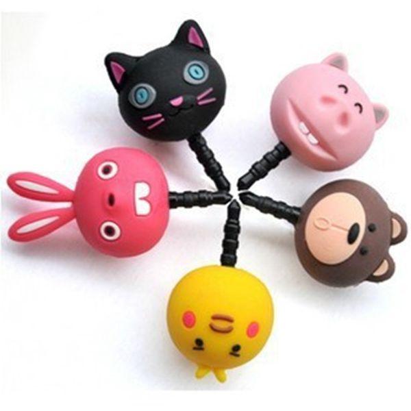 3.5mm Universal Earphone jack PVC Cartoon Animal Anti-Dust Plug pig/chick/rabbit/cat/bear ear cap Stopper for iphone/samsung/lg SmartPhone