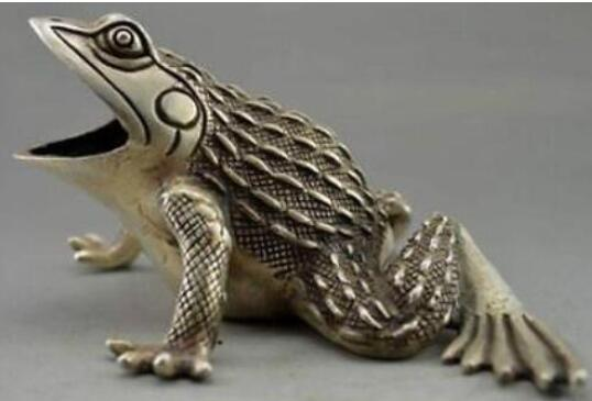 WBY коллекционные украшенные старые ручной работы Тибет Серебряный резной лягушка статуя