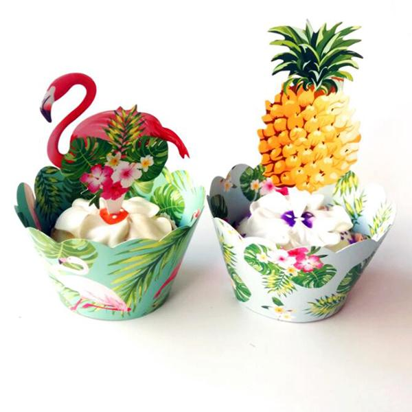 24pcs Flamingo Swan Pineapple Cupcake Wrappers Cake topper Baby kids Birthday Wedding Holiday Beach Party Supplies Decoration