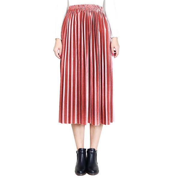 New 2018 Autumn And Winter High Waisted Skinny Female Velvet Skirt Pleated Skirts Pleated Skirt Free Shipping 6Q1638