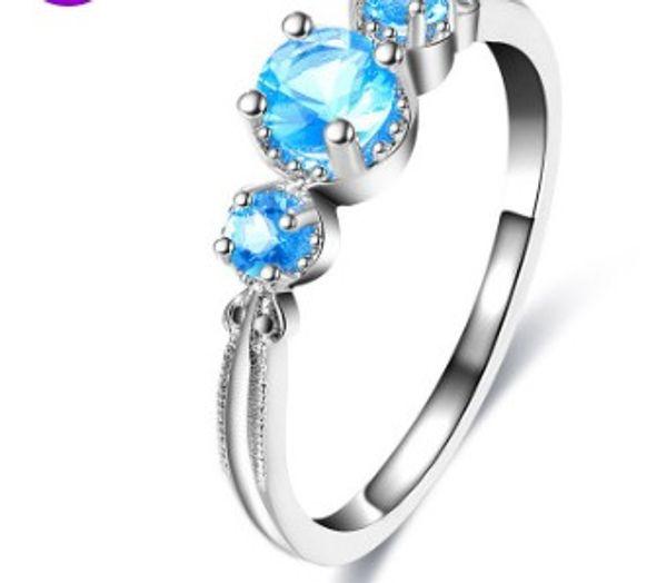 Romantic women fashion jewelry glitter blue zircon bride engagement wedding ring set girl festival gift Christmas birthday party