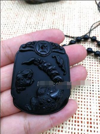 Natural Black Obsidian Carved Coin Toad Lucky Amulet Pendant + Beads Necklace