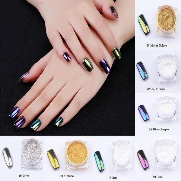 7 couleurs en métal Nail Art Astuce Décoration Pigment Glitters Poussière 1 pcs 2g Poudre Miroir Pour Vernis À Ongles 3D Art Décoration