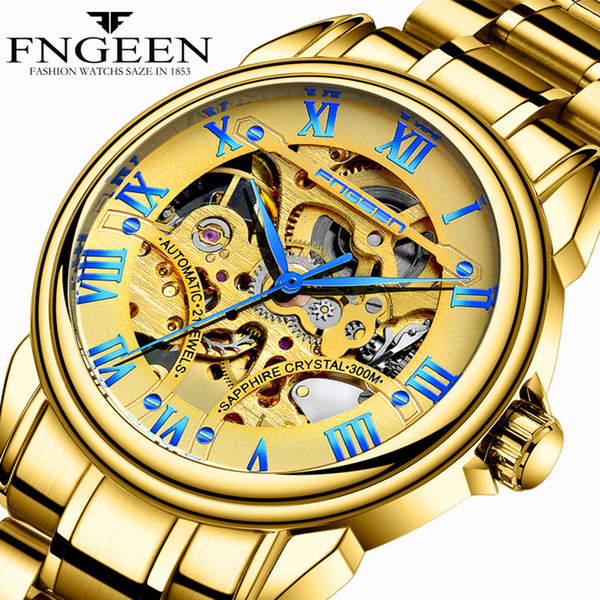 Gold Watches for Men Top Brand High Quality Waterproof Steel Mechanical Wristwatches Tourbillon Skeleton Hodinky Male Clock Saat