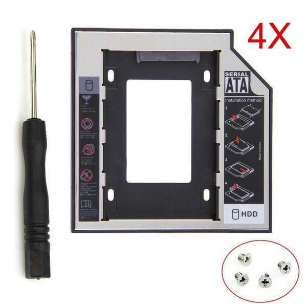 """4pcs/lot Universal 2nd HDD Caddy 12.7mm SATA 3.0 2.5"""" 2TB SSD Hard Drive Case Enclosure with LED Indicator for Laptop CD DVD ROM"""