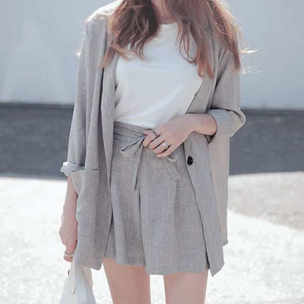 Cotton Linen Summer Suit Female 2 Pieces Set Tracksuit For Women Loose Blazer &Bow Elastic Waist Short Pant Suits High Quality