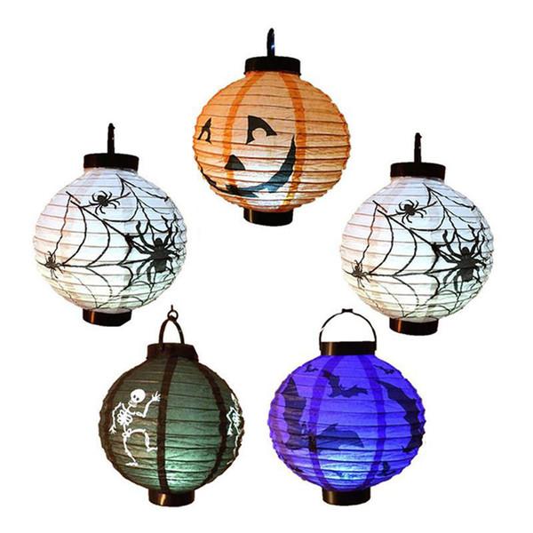 Halloween Decorative Props Jack Pumpkin Bat Light Ball Dress Up Handle Suspension Pumpkin Paper Lantern