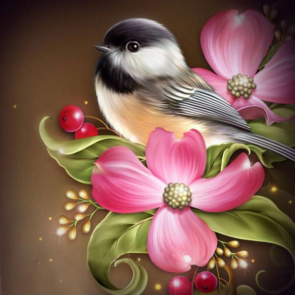 2020 Home Diy 5d Diamond Painting Cross Stitch Flowers Birds Round