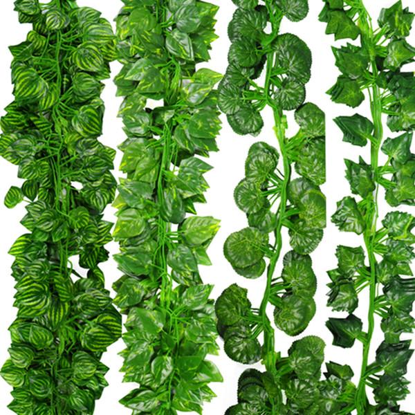 12pcs/Lot 2m Artificial Ivy Leaf Garland Plants Vine Fake Foliage Flowers Plastic Plants For DIY decoration Free Shipping