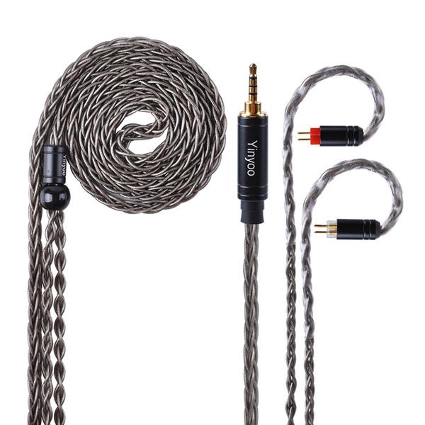 MissAudio Yinyoo KZ ZS10 8 Çekirdekli Yükseltilmiş Gri Gümüş Kaplama Kulaklık Kablo Ile MMCX / 2pin için HQ6 HQ8 QT2 KZ ZS10 ES4 AS10 BA10