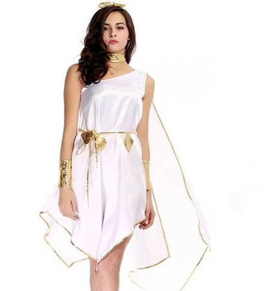 Sexy erwachsene Frauen griechische Göttin Kostüme Unregelmäßige weiße lange extravagante Halloween Party Antike griechische Göttin Kostüme L006