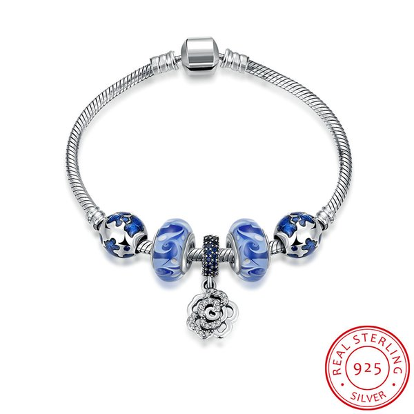 Hot sale genuine 925 sterling silver rose blue bracelet fit pandora charms necklace & bracelet European beads for personalized DIY jewelry
