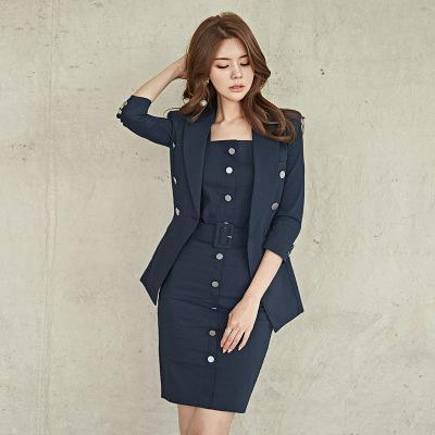 Office lady three pieces blazer set formal work suit jacket + sexy tops + slim pencil skirt set casual elegant suits