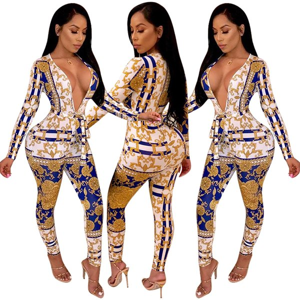 Fashion Gold Chain Printing Sexy Skinny Jumpsuits Rompers for Club 2019 Newest Deep v Neck Long Sleeves Sash Night Out Jumpsuits Pants