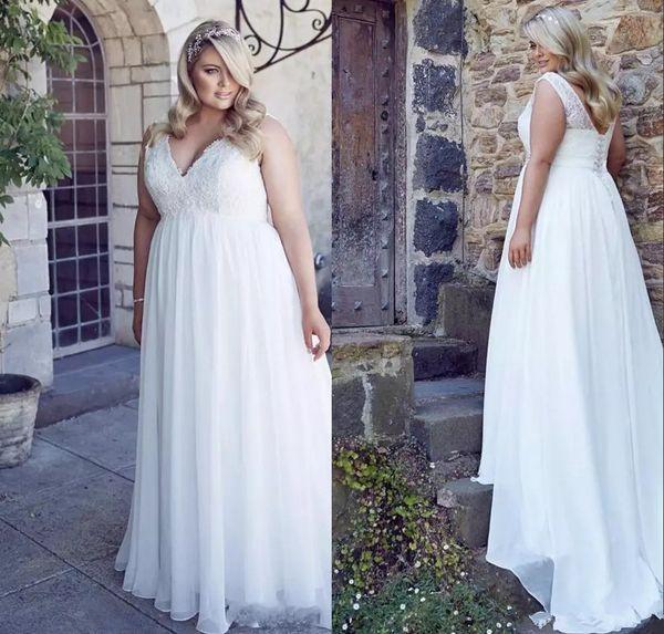 Plus Size Vestidos de casamento Chiffon baratos Primavera Grandes vestidos de noiva 2018 Romantic Uma linha Garden Country Vestidos de casamento até o chão