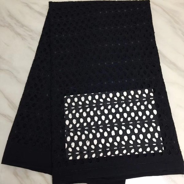 TPY1072 Free shipping (5yards/pc) plain black African cotton lace fabric with pressed wholes pattern for party dress