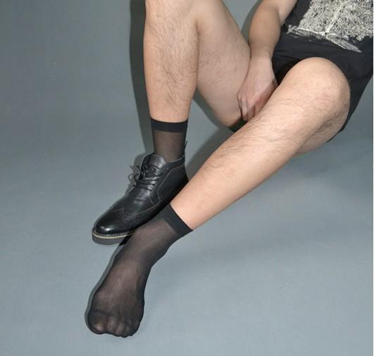 SORRYNAM Haute qualité Hommes Sheer Silk Noir chaussettes Transparent Sexy Hommes costume Formelle chaussettes